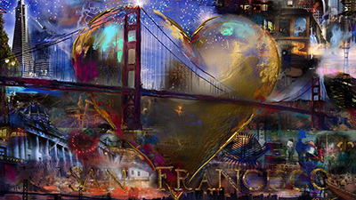 San Francisco Heart Collage Painting by Jeremy Sutton