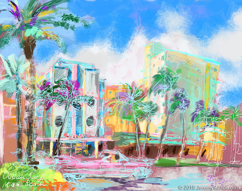 Jeremy Sutton Studios Ocean Surf Hotel With Caddy Miami North - Painting miami